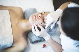 woman undergoing plastic surgery.