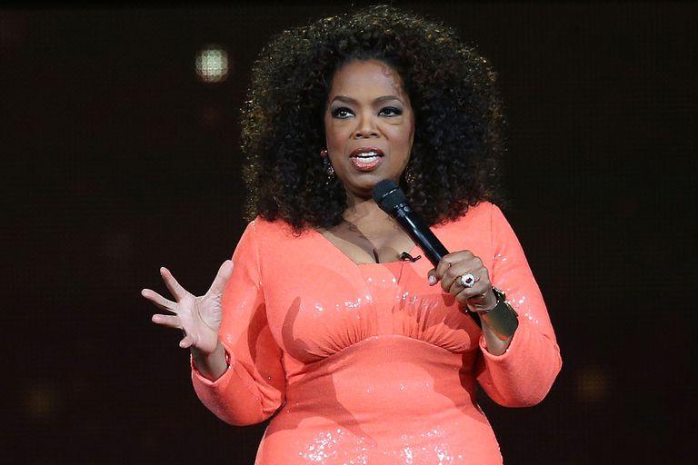 Oprah Winfrey talks to an audience.