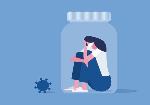 Illustration of woman wearing mask sitting inside a pill bottle.