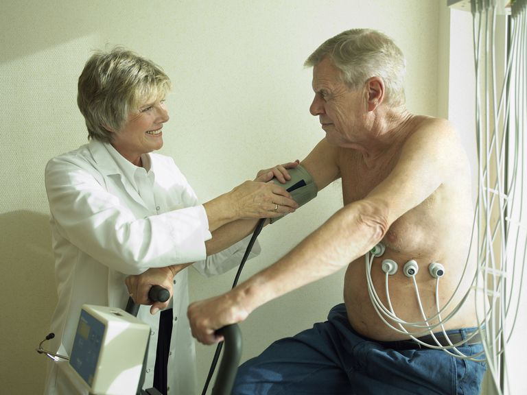 Doctor and elderly patient, taking blood pressure and performing other tests