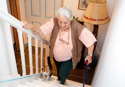 An older woman going up the stairs with her cat