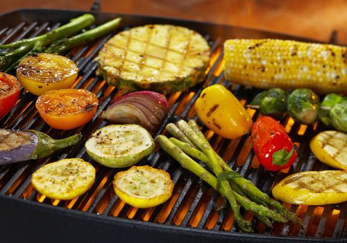 Vegetables cooking on a barbecue
