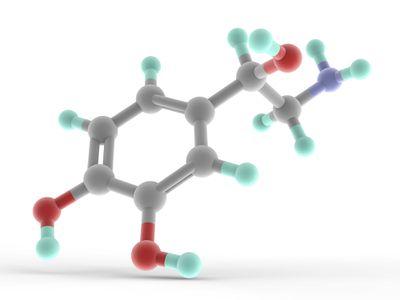 Illustration of a norepinephrine molecule.