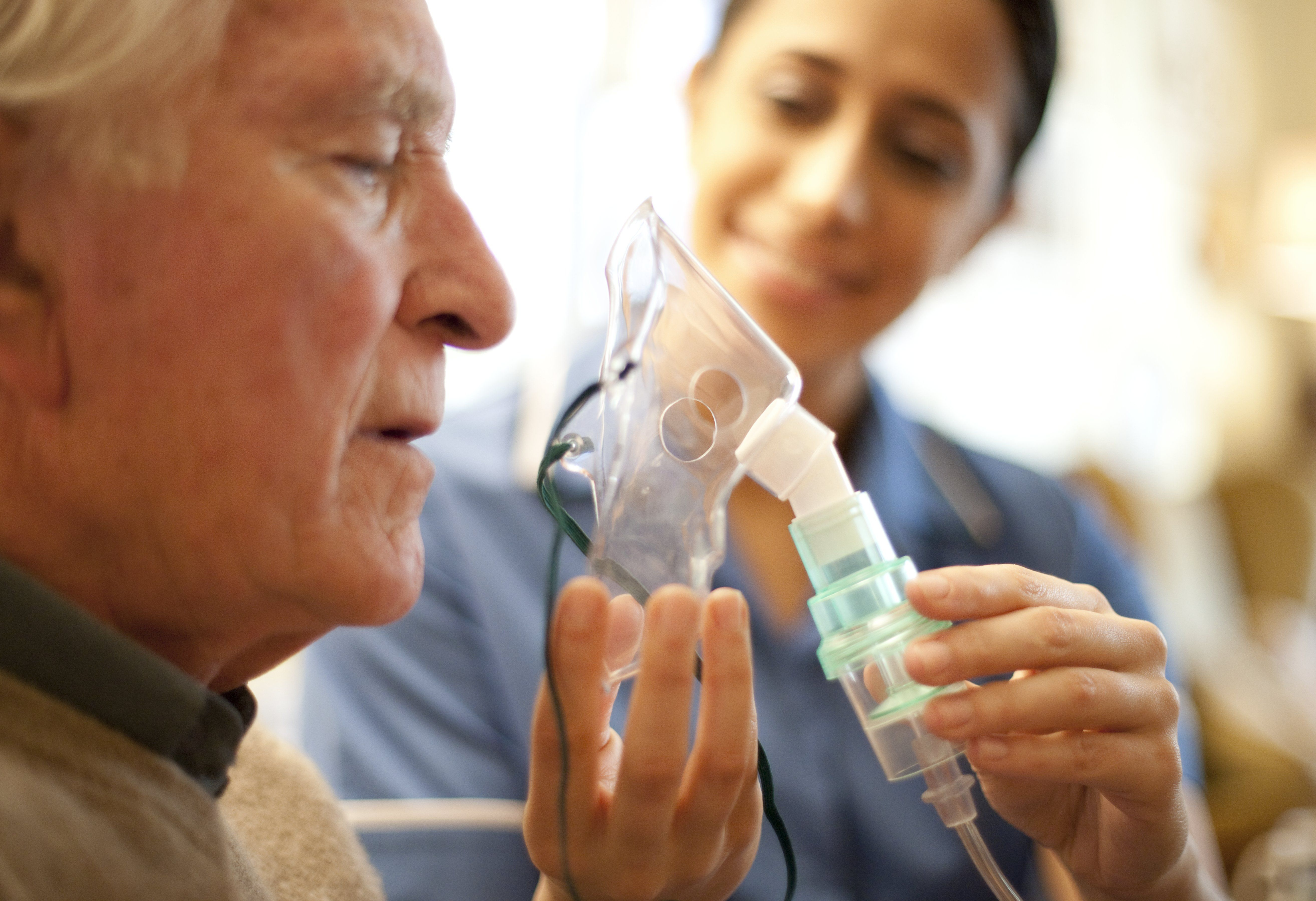 A person receiving oxygen therapy