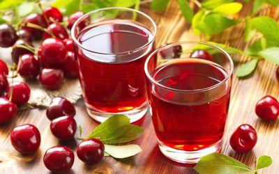 Cherry juice with fresh berries