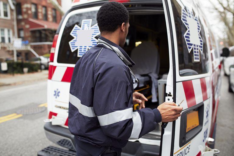 Paramedic opening ambulance