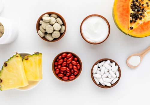 Proteolytic Enzymes tablets, capsules, gel caps, powder, pineapple, and papaya