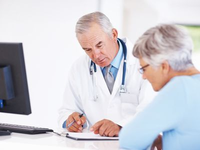 Woman talking to her doctor.