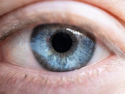 Close up of a person's blue eye