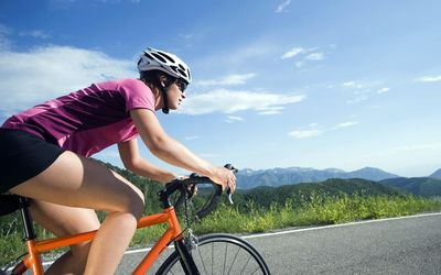 Cyclist on mountain road