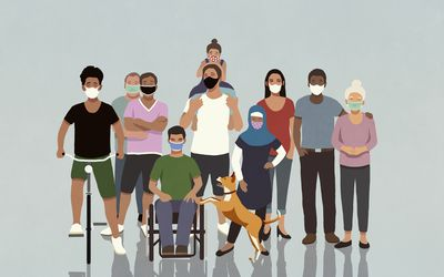 An illustration of a group of people of mixed race and age wearing face masks.