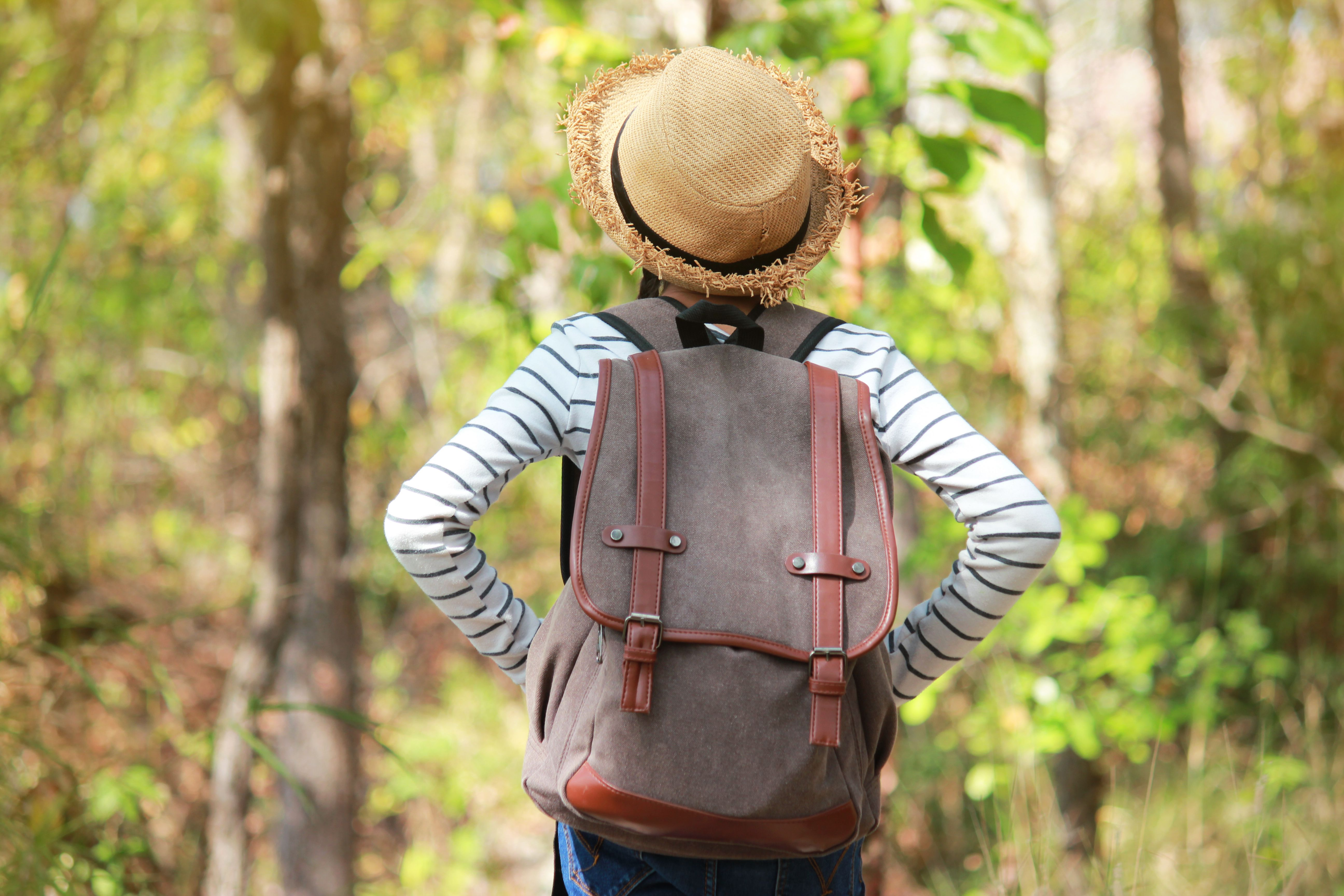 546205ee7aa7 Center the Backpack Load. Rear View Of Girl Carrying ...