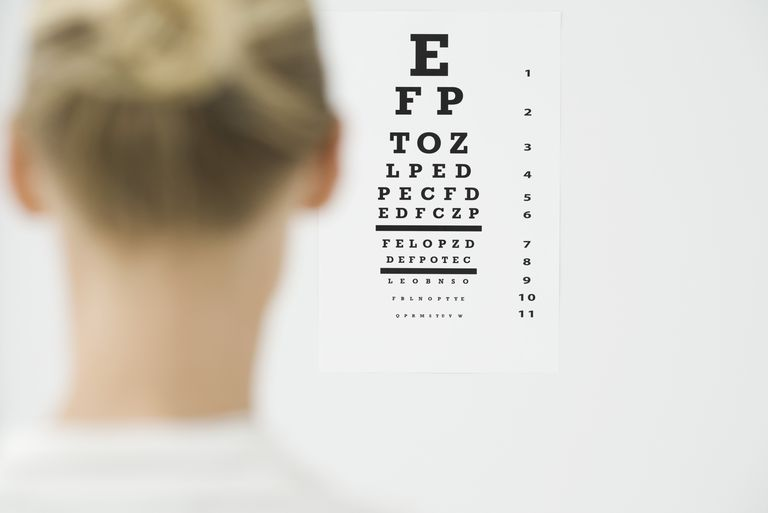 Woman looking at eye chart