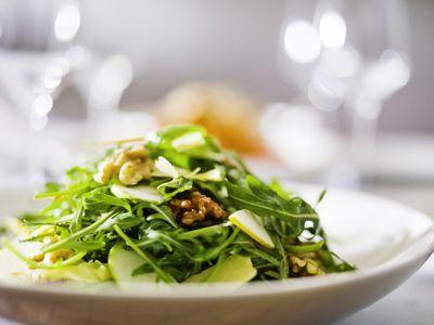 Rocket pear and walnut salad