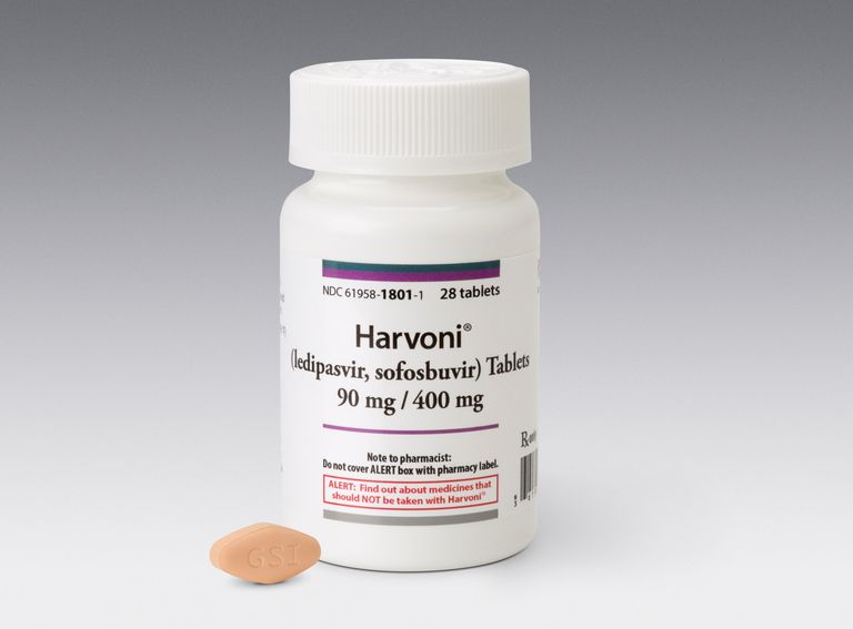 Harvoni bottle and pill