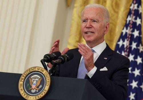 President Joe Biden delivering remarks about COVID-19 mandates.