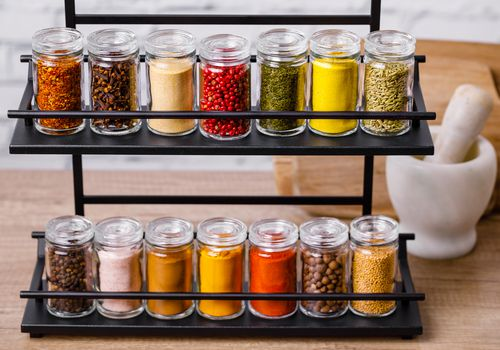 Various spices on rack