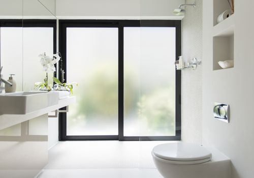 tranquil white bathroom