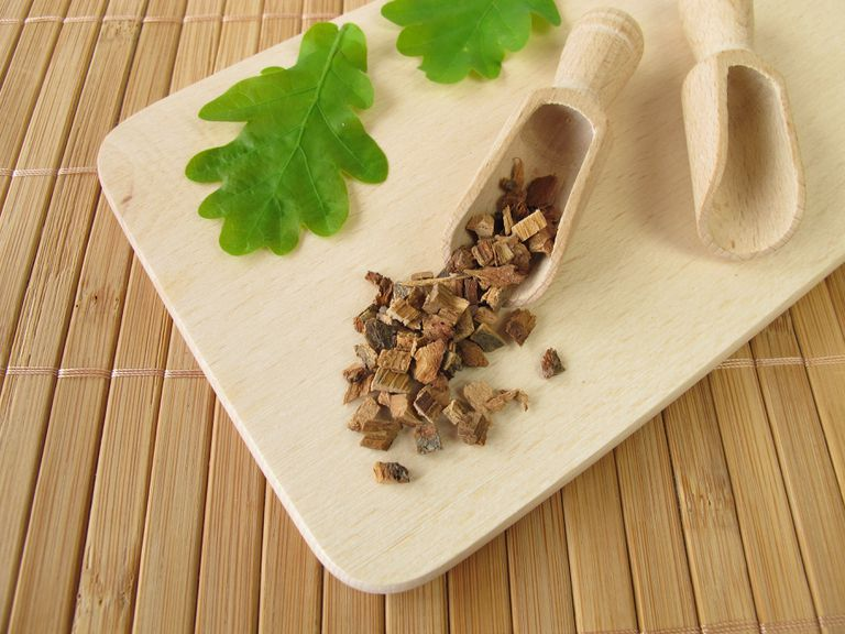 Oak bark herbal medicine in a scoop on a cutting board
