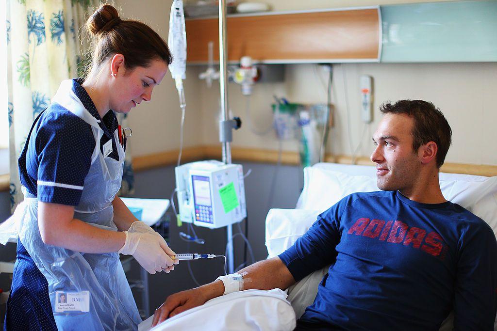 A patient receives treatment for Hodgkin's lymphoma