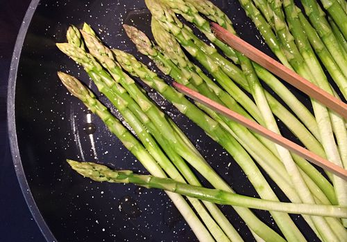 Close-Up Of Asparagus In Frying Pan
