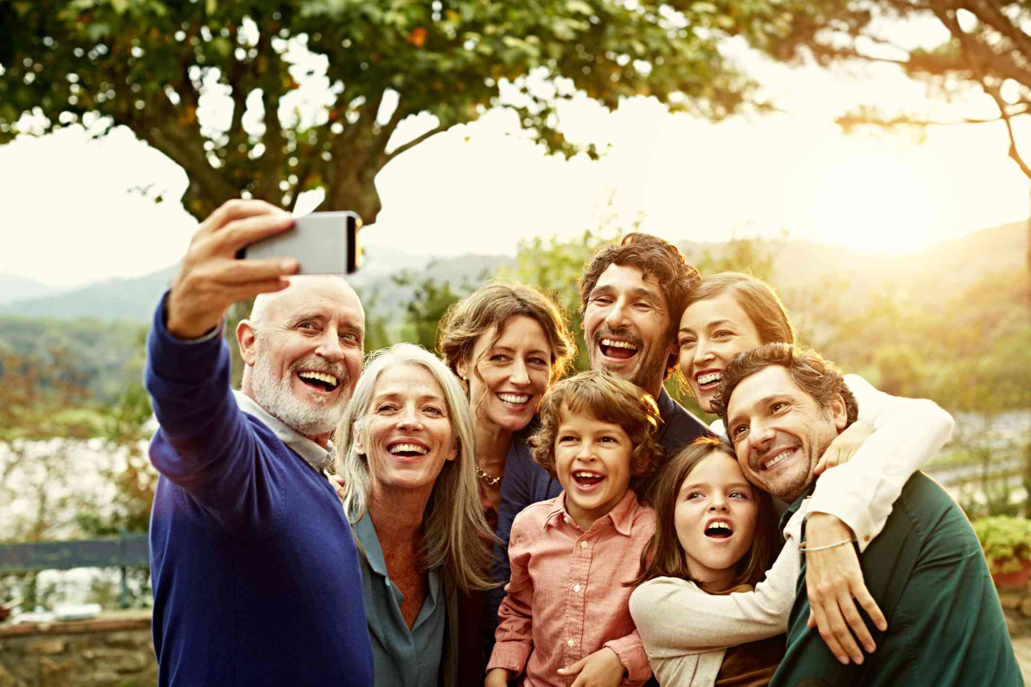 Family members taking a selfie together