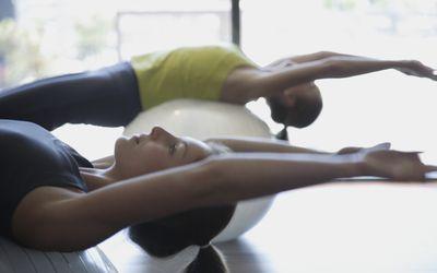 Two women in pilates class