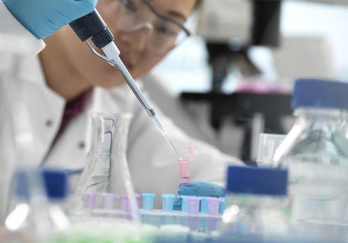 Woman doing genetic testing