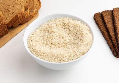 Bowl of rice and whole grain bread