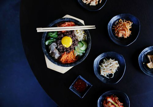 A table full of Korean BBQ