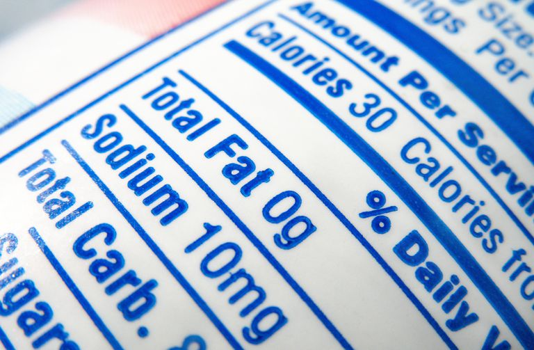 nutrition label; calories, fat and sodium content