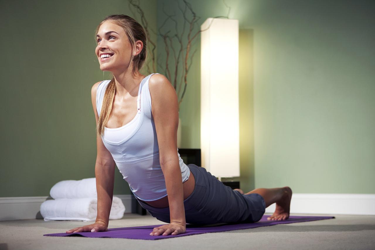 woman doing cobra yoga position