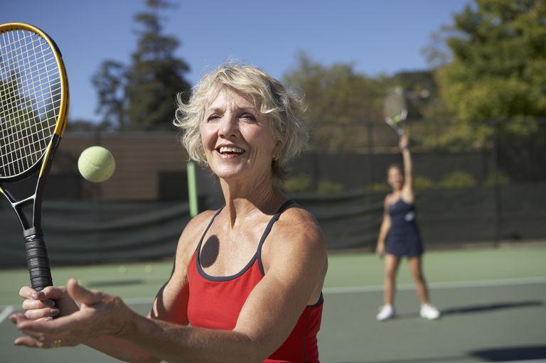 Caucasian woman on tennis court