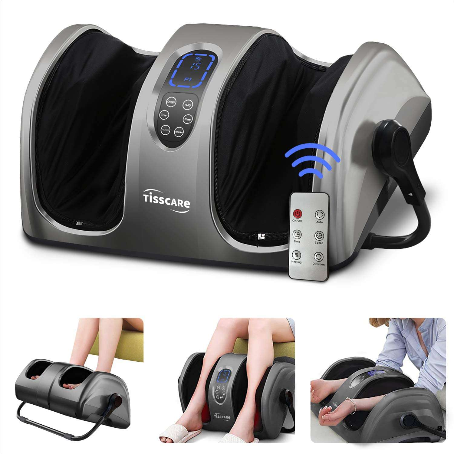TISSCARE Foot Massager Machine with Heat and Remote