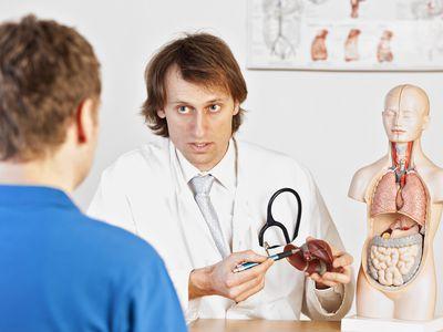 Doctor explaining liver problems