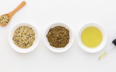 Hemp seeds, oil, and protein powder