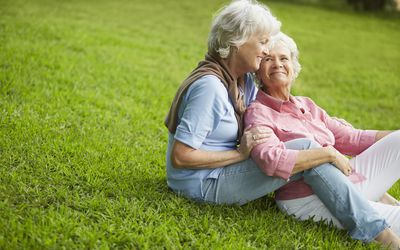 Elderly couple sharing time