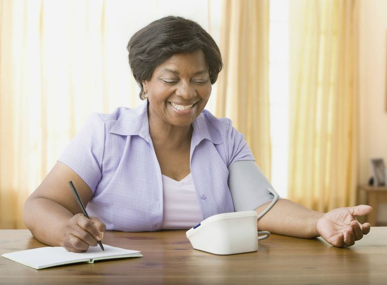 Senior woman taking own blood pressure