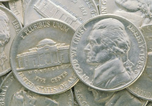 Close up of US nickel coins