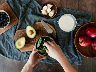 Preparing food on a wood board