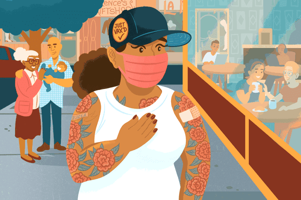 masked vaccinated woman looking at unvaccinated restaurant goers