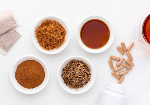 Cat's Claw tea bags, loose tea, powder, capsules, bark chips, and tincture