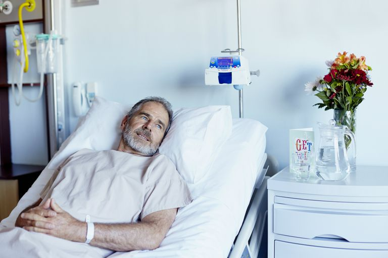 man staying in hospital
