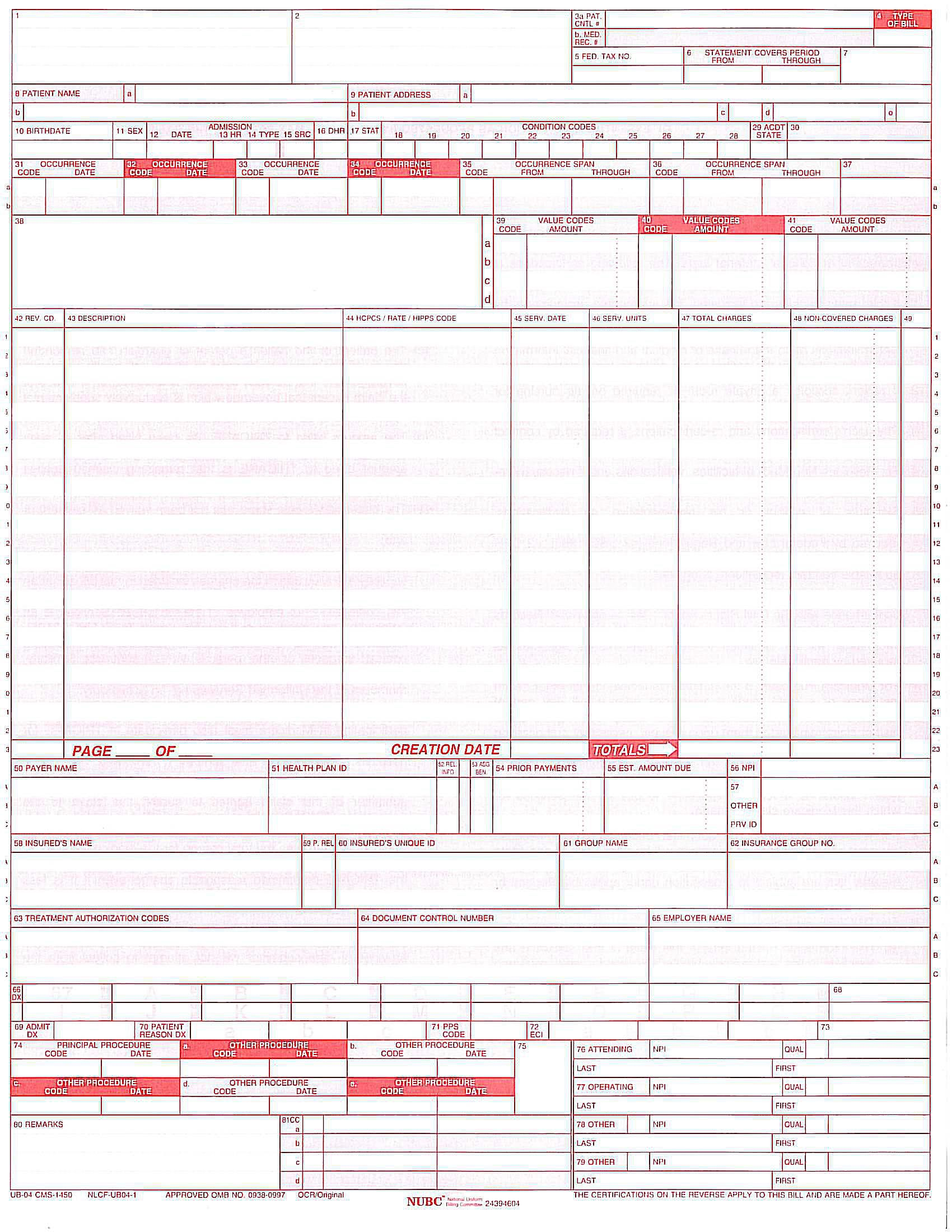 Overview of the UB 04 Billing Claim Form