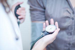 Patient having blood pressure taken