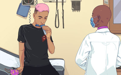 male patient giving saliva sample at doctor's office