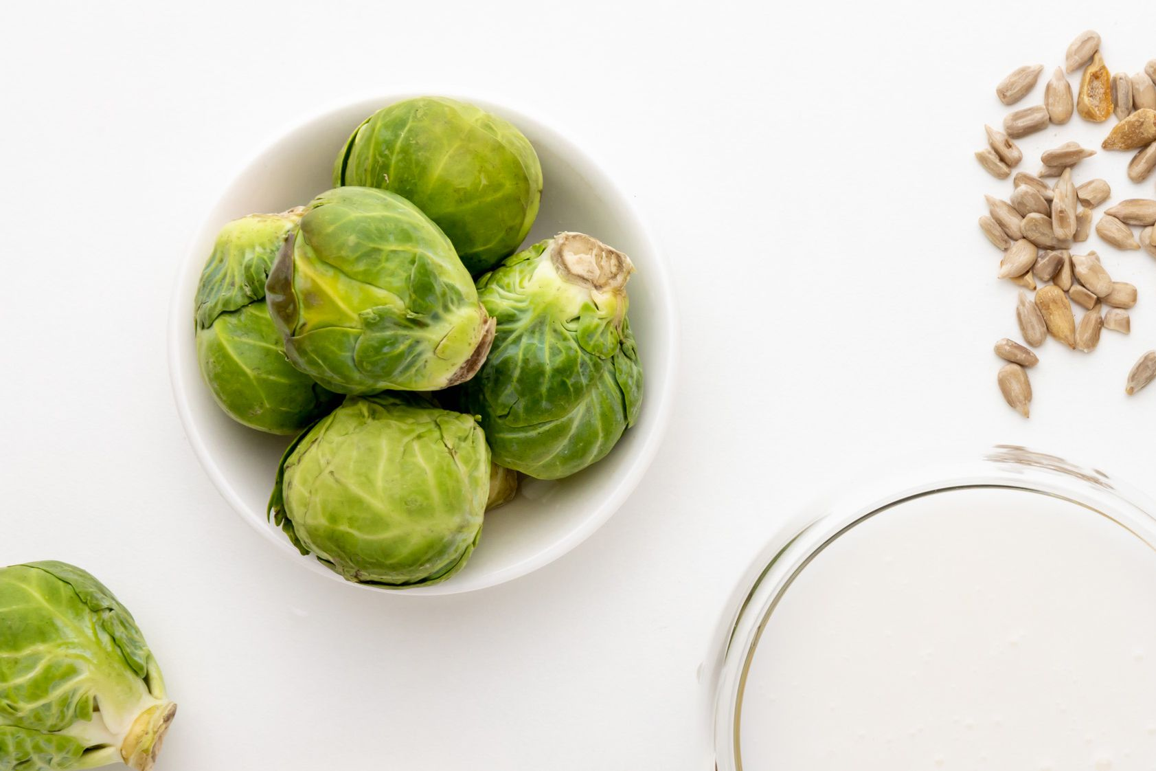 Brussel sprouts, sunflower seeds, and milk