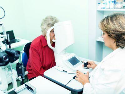 Tonometer assesses patient for glaucoma