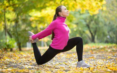 Woman stretching her hip flexor