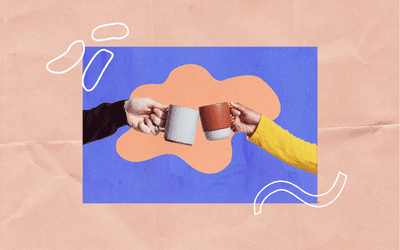 Two people holding coffee cups.